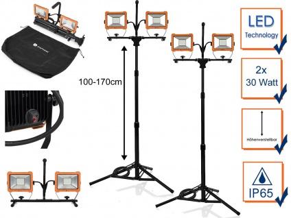 2Stk LED 2fach Baustrahler 60W mit Stativ - Arbeitsscheinwerfer Arbeitsleuchten