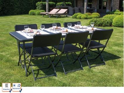 Wetterfeste Sitzgarnitur aus Kunststoff Klapp Tisch & Stühle klappbar Garten