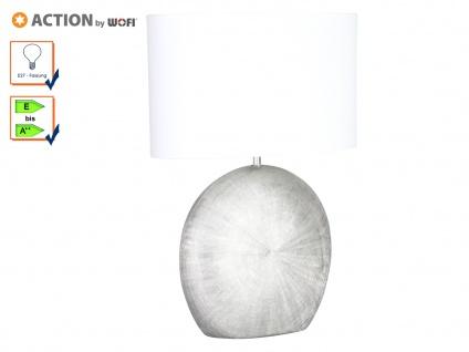 Tischleuchte LEGEND, H. 53cm, silber/weiß, Keramik & Stoff, E27, Tischlampen