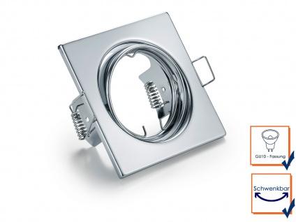 3 Einbaustrahler Decke eckig schwenkbar Chrom glänzend GU10 LED Deckenleuchten - Vorschau 4