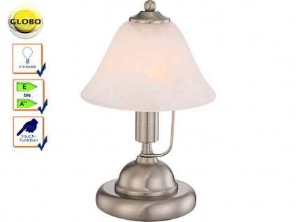 Globo Tischleuchte ANTIQUE, Touch Ein/Aus, Glas Alabaster, Tischlampe Nachttisch