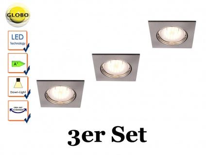 3 Stk. Globo Einbauleuchten eckig, Einbaustrahler beweglich, Spots mit GU10 LED