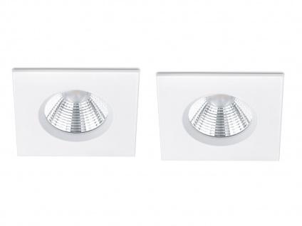 LED Einbaustrahler Decke 2er Set eckig dimmbar Weiß matt 5, 5W - Deckenleuchten