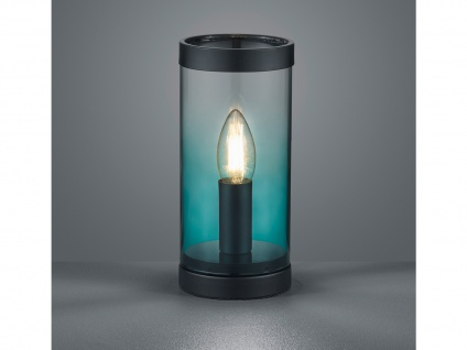 Kleine ausgefallene Glas Tischleuchte Zylinder Tischlampe Nachttischlampe Türkis - Vorschau 5