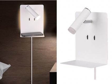 LED Wandleuchten in Weiß Leselampe USB Anschluss & Ablage 2 Wandlampen fürs Bett