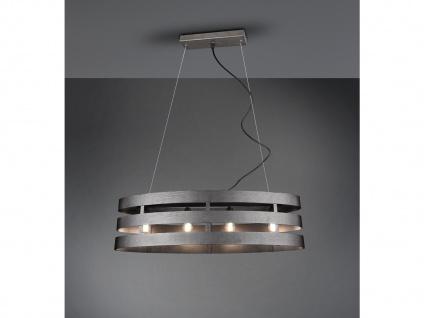 Ovale Pendelleuchte 4 Flammig mit Metallschirm in Silber 80cm - Esstischlampen