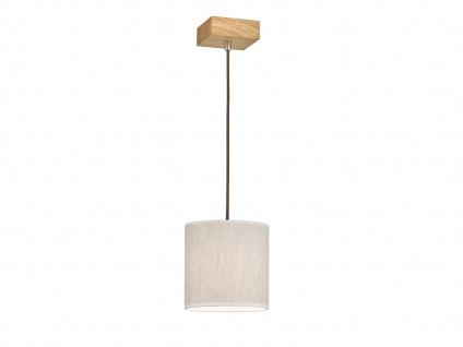 Schöne Pendelleuchte einflammig Holz Eicheoptik mit Lampenschirm aus Leinenstoff - Vorschau 2