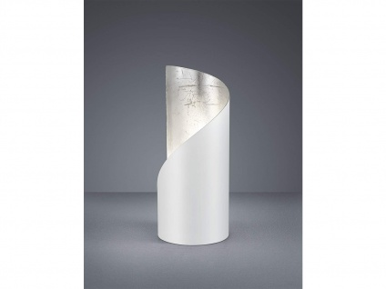 Kleine LED Tischleuchte 1 flammig Metall Weiß matt / Silber Höhe 24cm Ø10cm