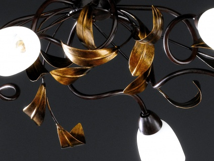 6-flammige Deckenleuchte, Rost antik / Gold, 84 x 73 cm, Honsel-Leuchten - Vorschau 2