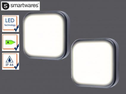 2er Set eckige LED Außenwandleuchte schwarz Ø19, 7cm Außenbeleuchtung Fassade
