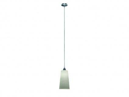 Edle LED Hängeleuchte 1 flammig Baldachin Silber Glasschirm weiß gewischt Ø15cm