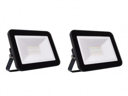2er Set 10W LED Außenwandstrahler schwarz mit Befestigungsbügel, flaches Design