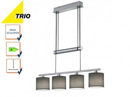 Pendelleuchte GARDA höhenverstellbar mit LED, 4flammig Lampenschirme Stoff grau