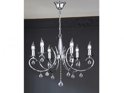 Designklassiker Kronleuchter Lüster Chrom mit Glas 6flammig Ø62cm Kerzen stehend - Vorschau 3