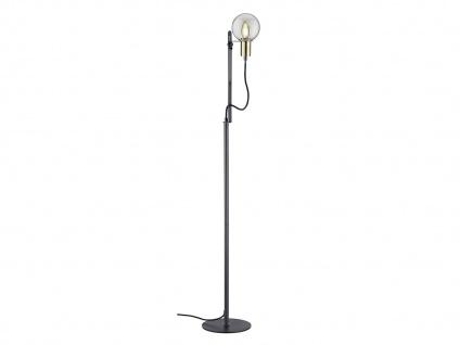 LED Stehleuchte höhenverstellbar bis 140cm hoch in schwarz matt Glasschirm Kugel - Vorschau 2