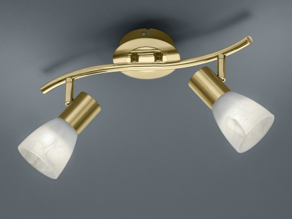 2 flammiger LED Deckenstrahler für Innen schwenkbar Messing matt fürs Wohnzimmer