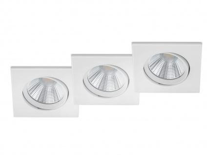 3 LED Einbaustrahler Decke eckig schwenkbar dimmbar Weiß matt 5, 5W - Deckenlampe
