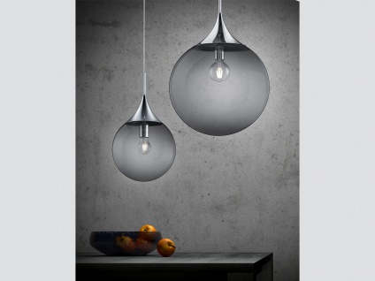 Designerlampe Glaskugel Pendelleuchte Rauchglas für über Esstisch Esszimmer, Ø45 - Vorschau 3