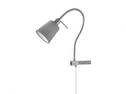 Flex LED Leselampe Bettleuchte zum Anschrauben, Möbelleuchte Stoffschirm grau