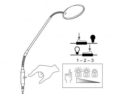 Flexible LED Stehhleuchte Leselampe Weiß 12W H. 150cm - moderne Wohnzimmerlampe - Vorschau 5