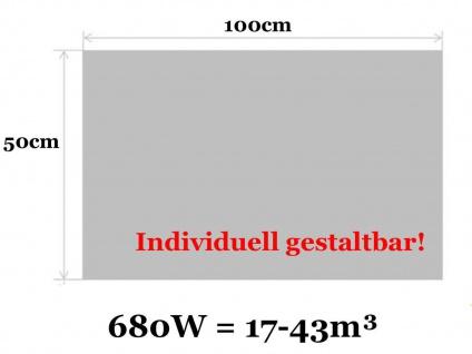 Infrarotheizung, Elektroheizung 680W, 100x50 cm, Hochglanz weiß, Vitalheizung