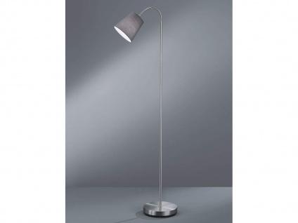 1 flammige Stehleuchte flexibel Silber mit Stoffschirm Ø15cm in Grau Höhe 140cm