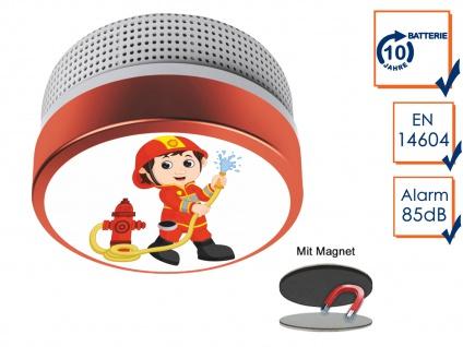 Mini Brandmelder mit Feuerwehrmann Bild mit 10 Jahres Batterie & Magnetmontage