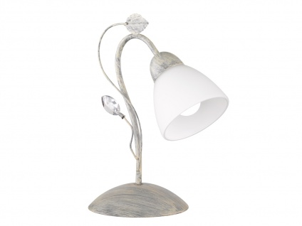 Antik Look LED Tischlampe im Florentiner Stil mit Blätter Motiv aus Metall Grau