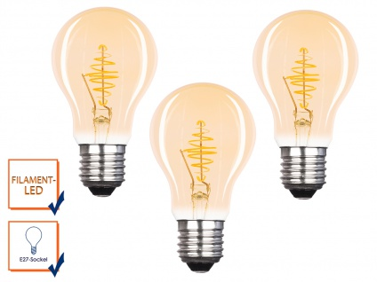 3x FILAMENT LED Leuchtmittel A60 mit 3 Watt, 150 Lumen, 2000 Kelvin, E27-Sockel