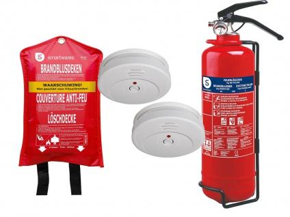 Brandschutz-Set2 (TÜV Rauchmelder, Feuerlöschdecke, Pulverlöscher), Rettungsset