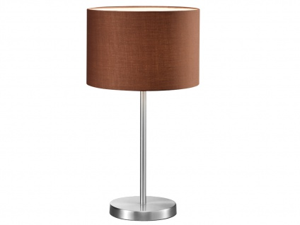 Design LED Tischlampen mit Stoffschirm rund braun Ø30cm - fürs Wohnzimmerlampen - Vorschau 2