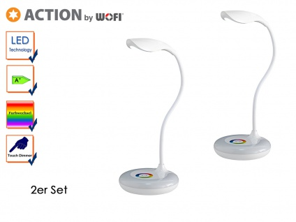 2er Set LED Schreibtischleuchte SLIM Flexarm Dimmer RGB-LED USB-Kabel Tischlampe