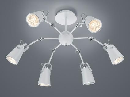 Metall LED Leuchte mit 6 verstellbaren Strahlern in weiß matt, Dielenleuchte E14