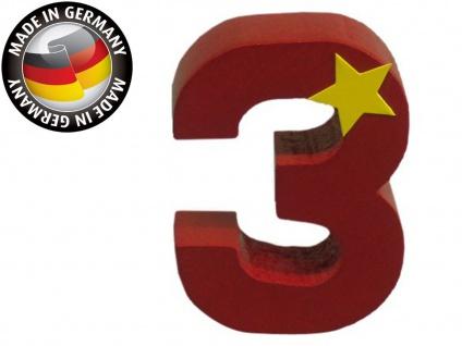 Geburtstagszahl 3 für Niermann Kerzenhalter, Holz, Happy-Zahl Geburtstag Kinder