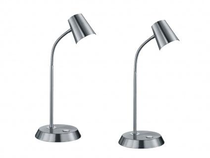 Flexible LED Schreibtischlampe 2er Set Nickel matt 4, 7W - Leselampe Schlafzimmer