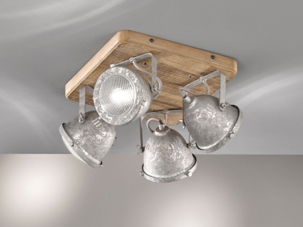 Industrial Style LED Deckenstrahler 4-flammig dimmbar mit Holz-brett Spots Zink