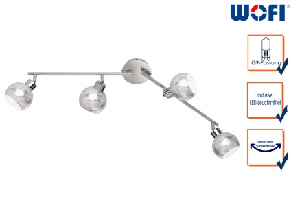 Design LED Deckenleuchte 4 Spots drehbar Silber G9, Wohnraumleuchte Dielenlampen
