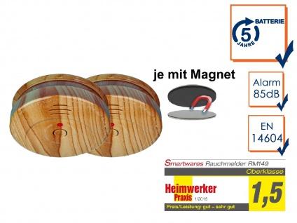 2er SET Rauchmelder Holzoptik 5 Jahres Batterie & Magnetbefestigung, Feueralarm