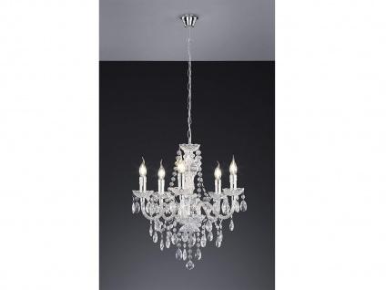 5 flammiger LED Kronleuchter dimmbar Ø52cm mit Kristall Behang aus Acryl in Klar