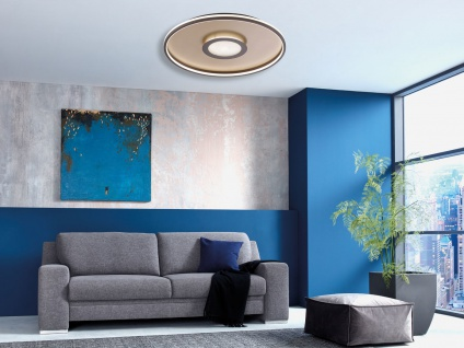 Flache LED Deckenleuchte BUG rund Ø81cm mit Fernbedienung, Gold matt & Rostoptik