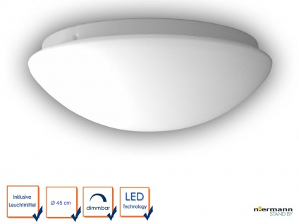 LED Flurlampe Dielenbeleuchtung OPALGLAS matt rund Ø 45cm Glaslampe Wandleuchte