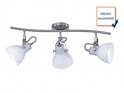 3-fl. LED Strahler mit dreh+ schwenkbaren Spots in Nickel matt weiße Glasschirme - Vorschau 3