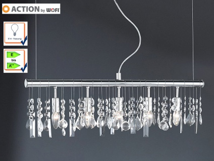 5-fl. Pendelleuchte Chrom & Kristallbehang klar Länge 80cm Esstischlampe Pendel