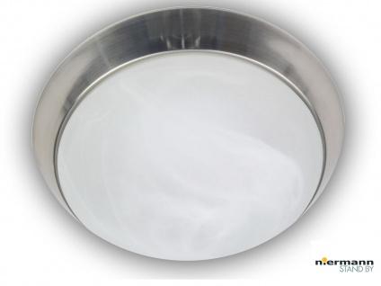 Runde Deckenleuchte, Alabasterglas, Dekorring Nickel matt Ø 25cm Wandleuchte