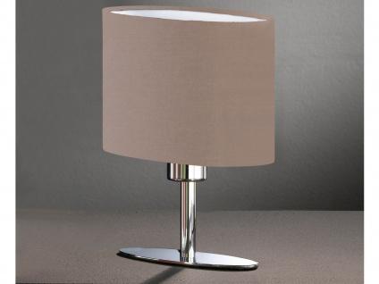 Designklassiker: Schöne Tischleuchte Silber mit ovalem Lampenschirm Stoff Braun