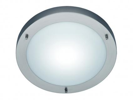 Bad-Deckenleuchte, 1xE27, Ø 31cm, IP44, Nickel, Glas opal matt weiss