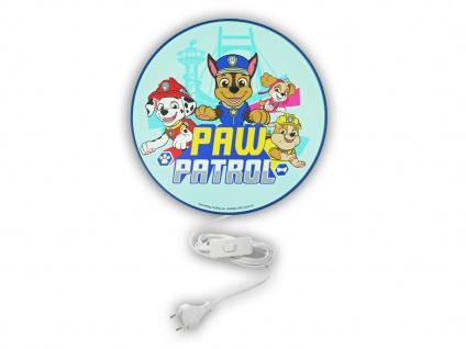 LED Kinderzimmer Wandlampe mit Schalter Ø 25cm Blau PAW PATROL die super Hunde