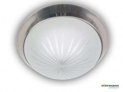 Flurleuchte Dielenbeleuchtung Deckenschale rund Ø25cm Schliffglas Nickel matt