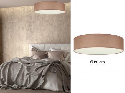 Deckenleuchte mit Stoff Lampenschirm Braun 60cm - Textil Deckenlampe Stoffschirm