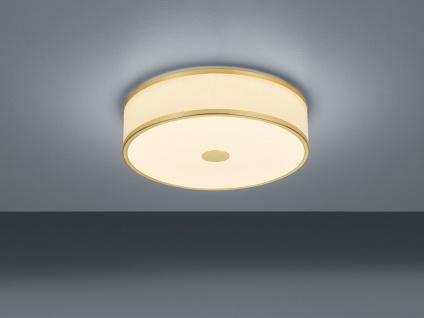 LED Deckenlampe rund mit Stofflampenschirm in weiß, Messingfarben- SWITCH DIMMER